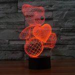 Teddy Bear with Heart 3d lamp