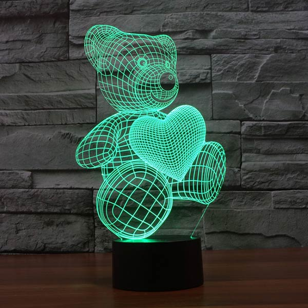 Teddy Bear with Heart 3d lamp