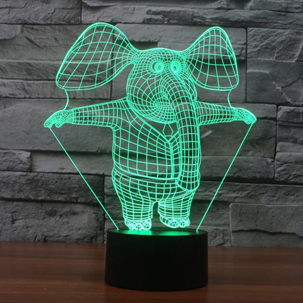 Cute Elephant 3d led lamp 2