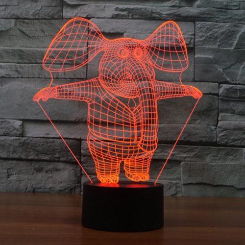 Cute Elephant 3d led lamp 1