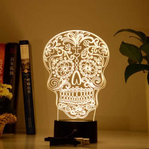 Flower Skull 3d led lamp