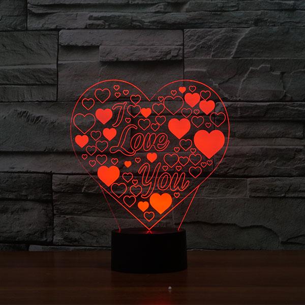 Romantic Love Heart 3d Led Lamp