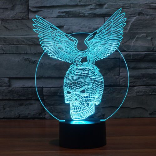 Skull with Eagle Design 3d LED Lamp