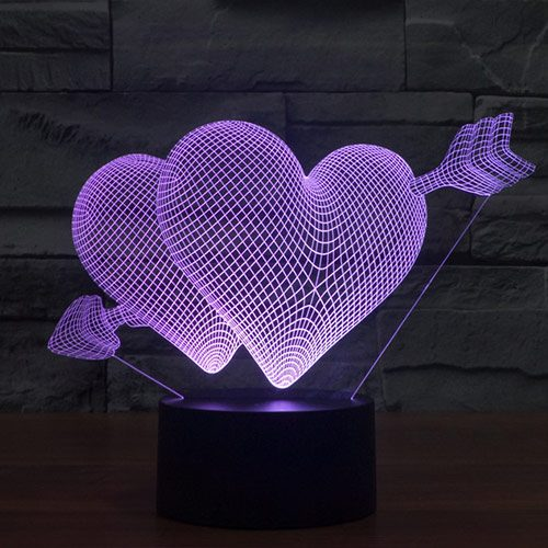 Valentine Hearts 3d led lamp