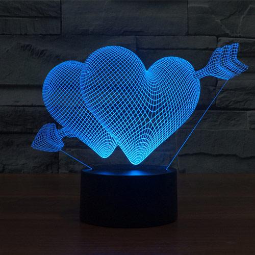 Valentine Hearts 3d led lamp