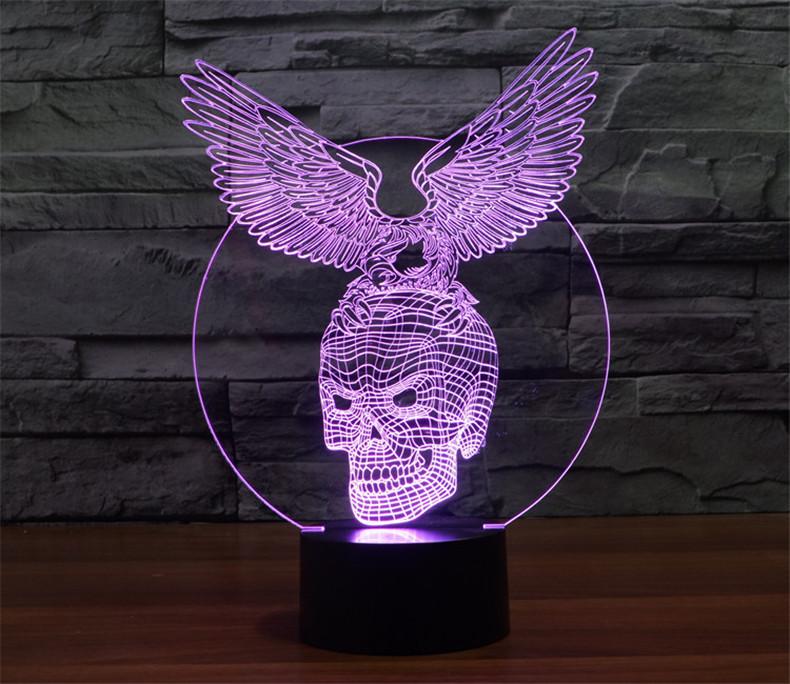 Skull with Eagle Design 3d LED Lamp