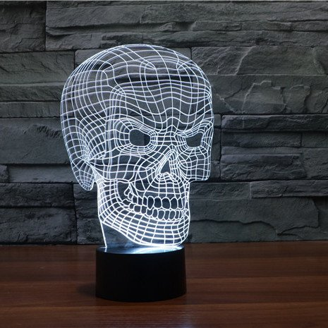 White Scary Skull 3d led lamp