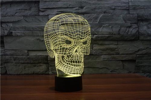 Yellow Scary Skull 3d led lamp