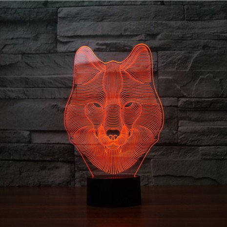 Wolf Face 3d led lamp