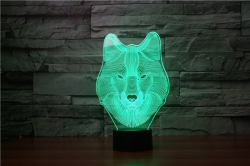 Wolf Face 3d led lamp 2