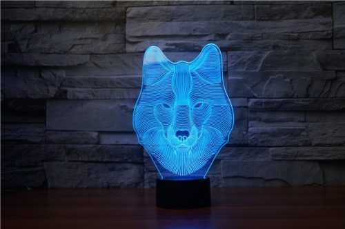 Wolf Face 3d led lamp 3