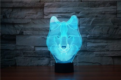 Wolf Face 3d led lamp 5