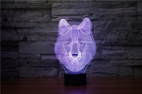 Wolf Face 3d led lamp 6