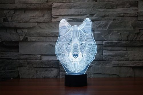 Wolf Face 3d led lamp 7