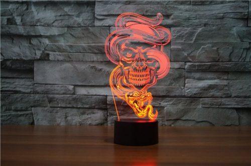 Skull with Snake 3d led lamp 2