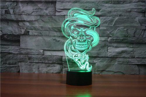 Skull with Snake 3d led lamp 3