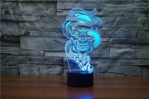 Skull with Snake 3d led lamp 4