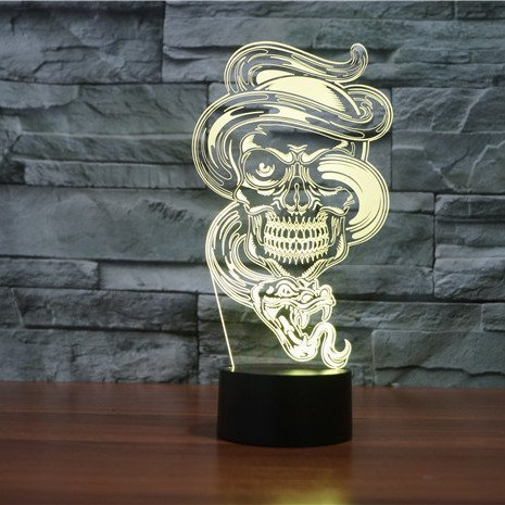 Skull with Snake 3d led lamp