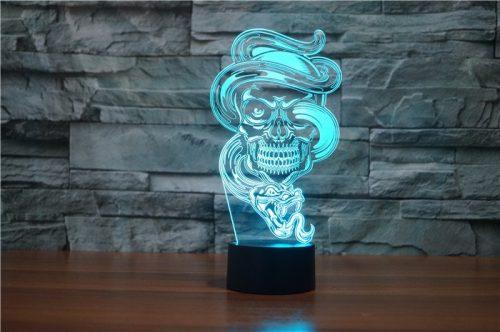 Skull with Snake 3d led lamp 5