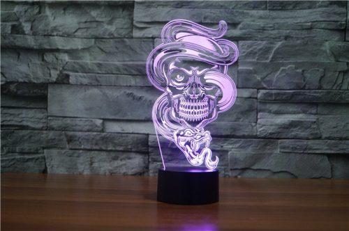 Skull with Snake 3d led lamp 6
