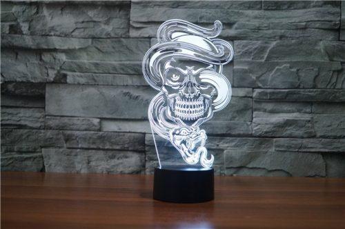 Skull with Snake 3d led lamp 7