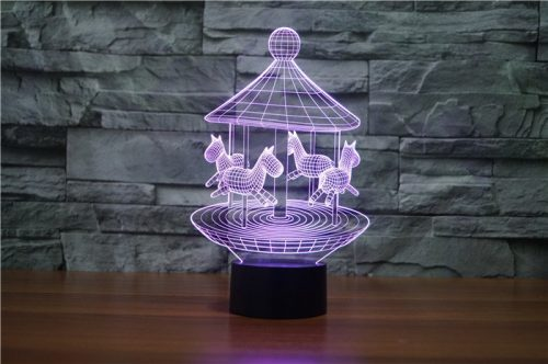 Purple Merry Go Round 3d led lamp