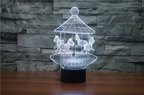 White Merry Go Round 3d led lamp