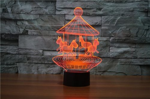 Red Merry Go Round 3d led lamp