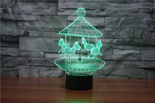 Green Merry Go Round 3d led lamp