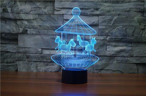 Blue Merry Go Round 3d led lamp