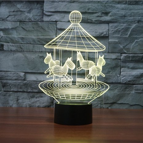 Yellow Merry Go Round 3d led lamp