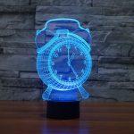 Blue Alarm Clock 3d led lamp