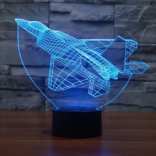 Blue Fighter Plane 3d led lamp