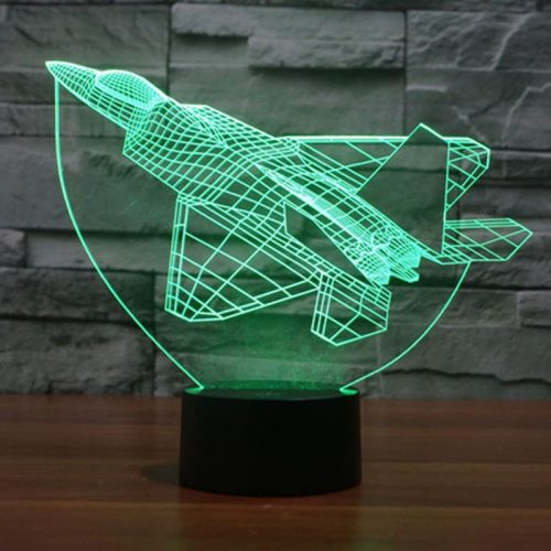 Green Fighter Plane 3d led lamp