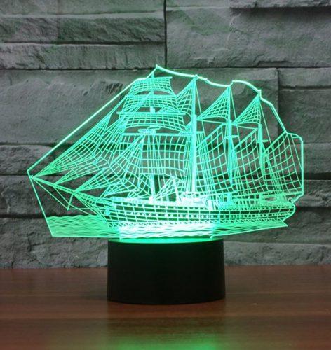 Green Sail Boat 3d led lamp