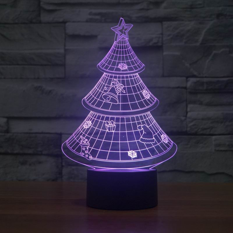 Purple Christmas Tree.Christmas Tree 3d Led Lamp