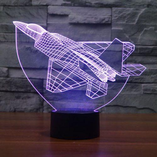 Purple Fighter Plane 3d led lamp