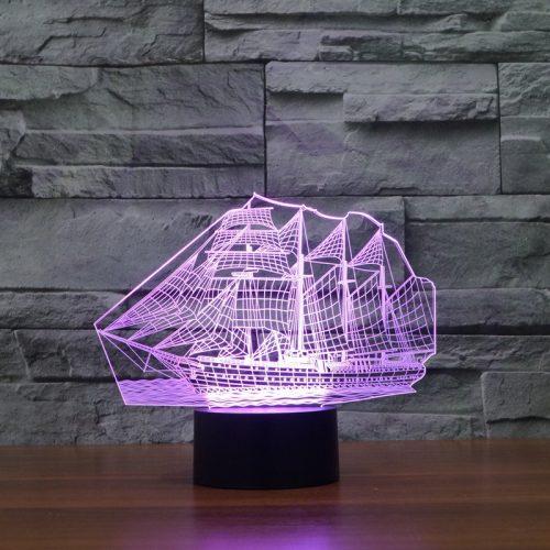 Purple Sail Boat 3d led lamp