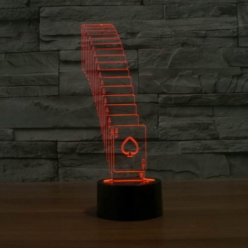 Red Cards 3d led lamp