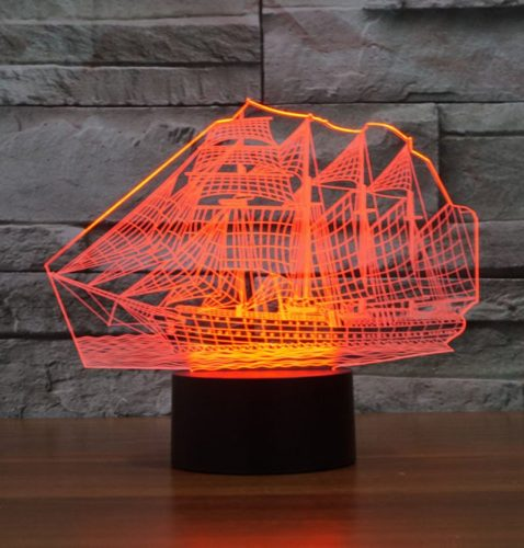 Red Sail Boat 3d led lamp