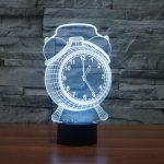 White Alarm Clock 3d led lamp