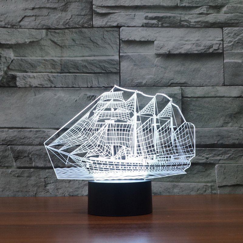 White Sail Boat 3d led lamp