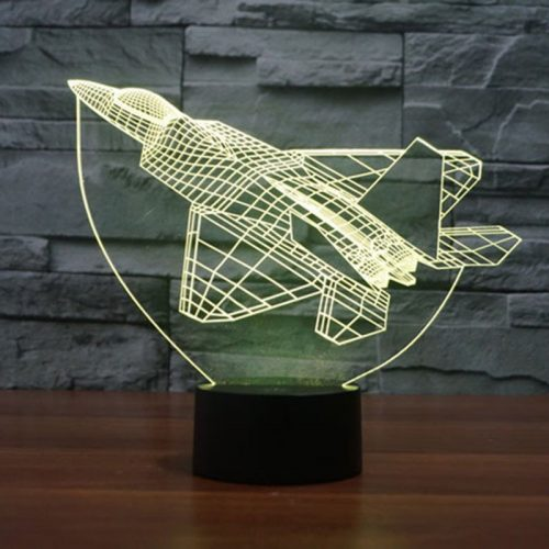 Yellow Fighter Plane 3d led lamp