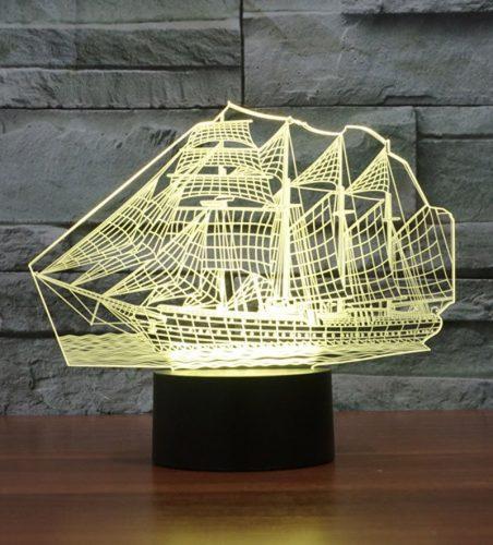 Yellow Sail Boat 3d led lamp