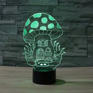 mushroom house 3d led night light