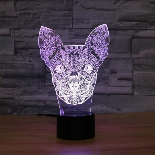 chihuahua 3d led night light