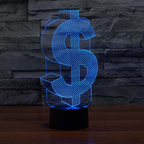 dollar sign 3d led night light
