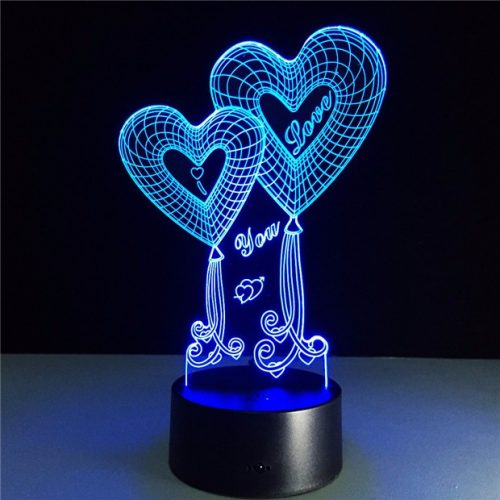 I Love You Heart Balloons 3D LED Lamp 1