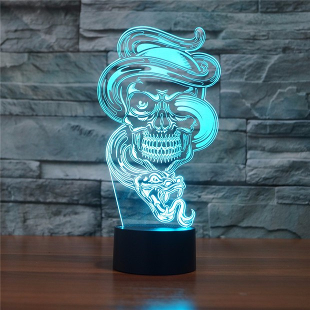 Snake Amp Skull 3d Led Lamp
