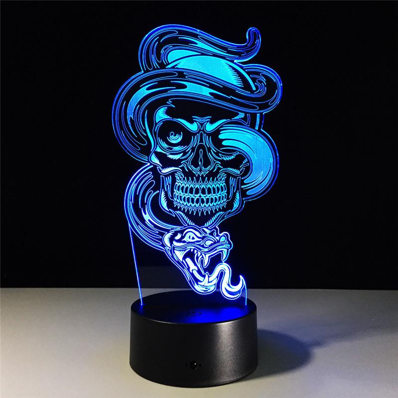 Snake Amp Skull 3d Led Lamp